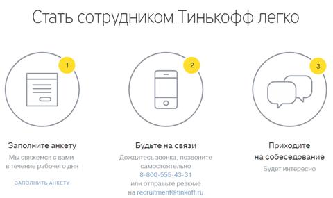 "Трудоустройства в ""Тинькофф"" банк"